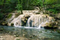 美丽的小河瀑布在一个绿色森林里 免版税库存图片