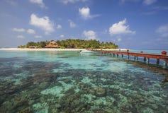 美丽的小海岛在马尔代夫。 免版税库存照片