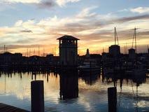 美丽的小游艇船坞在Gulfport密西西比 图库摄影
