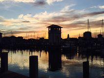 美丽的小游艇船坞在Gulfport密西西比 库存照片