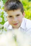美丽的小男孩在一个开花的庭院里在春天 免版税库存图片