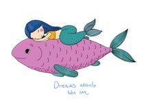 美丽的小的美人鱼和大鱼 库存例证