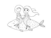 美丽的小的美人鱼和鱼 警报器 图库摄影