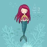 美丽的小的美人鱼 警报器 抽象抽象背景海运主题 库存图片