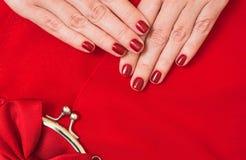 美丽的小红色女性钱包在手上 库存图片