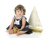美丽的小水手女孩 库存照片