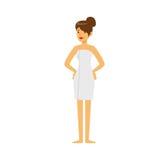 美丽的少妇佩带的毛巾、蒸汽浴或者温泉做法五颜六色的传染媒介例证 库存照片