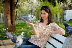 美丽的少妇哺养的鸽子在春天庭院里 库存照片