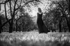 美丽的少妇在夏天庭院里 图库摄影
