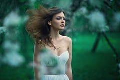 美丽的少妇在夏天庭院里 库存图片
