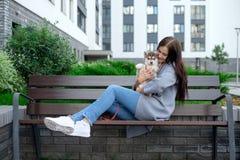 美丽的少妇坐长木凳和享用与她逗人喜爱的矮小的多壳的小狗 免版税库存图片