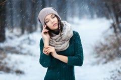 美丽的少妇室外的冬天 库存图片