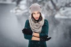 美丽的少妇室外的冬天 图库摄影