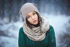 美丽的少妇室外的冬天 免版税库存图片