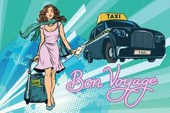 美丽的少妇旅游乘客出租汽车 库存例证