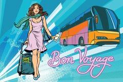 美丽的少妇旅游乘客游览车 皇族释放例证
