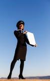 美丽的少妇空中小姐 免版税库存图片