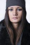 美丽的少妇纵向有长的头发的 库存照片