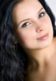 美丽的少妇表面。 黑发 免版税库存图片