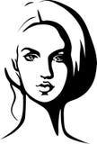 美丽的少妇-黑概述画象  免版税库存照片