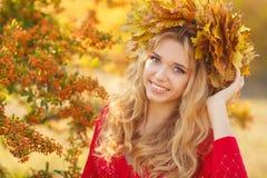 美丽的少妇画象在秋天公园 库存图片