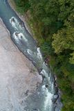 美丽的山河的顶视图 库存图片