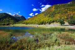 美丽的山的小山湖 免版税图库摄影