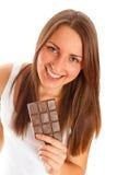 美丽的巧克力妇女 免版税库存图片