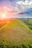 美丽的巧克力小山在保和省,菲律宾 免版税库存图片