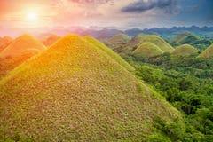 美丽的巧克力小山在保和省,菲律宾 免版税库存照片