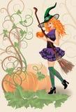美丽的巫婆和南瓜,万圣夜卡片 库存图片