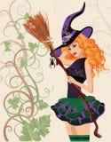 美丽的巫婆和蜘蛛,万圣夜卡片 库存照片