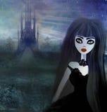 美丽的巫婆和hounted房子 免版税库存照片