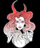 美丽的巫婆年轻人 神秘的字符 方术,宗教, spir 皇族释放例证