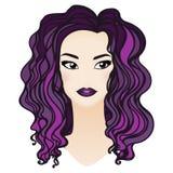 美丽的巫婆画象 有紫色长的头发的时尚女孩 库存照片