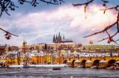 美丽的布拉格在冬天 库存图片