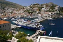 美丽的希腊九头蛇海岛 免版税库存照片