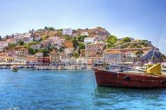 美丽的希腊海岛,九头蛇 库存图片