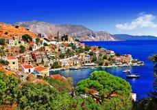 美丽的希腊海岛-锡米岛 库存图片