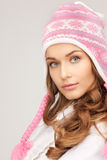 美丽的帽子冬天妇女 库存照片