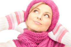 美丽的帽子冬天妇女 免版税库存图片