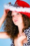 美丽的帽子红色妇女 库存图片