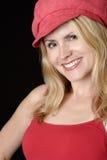美丽的帽子红色妇女 免版税库存照片