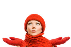 美丽的帽子纵向红色冬天妇女 库存照片