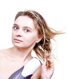 美丽的干毛发她的妇女 免版税库存照片