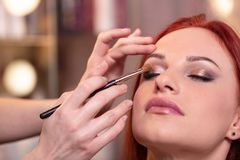 美丽的年轻女人面孔特写镜头与秀丽构成,新鲜的软的皮肤和长黑厚实睫毛申请的 免版税图库摄影