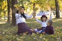 美丽的年轻母亲使用与她的孩子在澳大利亚的公园 库存照片