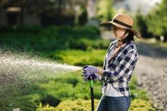 美丽的年轻花匠妇女浇灌的庭院在热的夏日 免版税库存照片