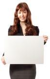 美丽的广告牌空白企业藏品妇女 免版税库存照片
