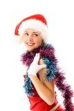 美丽的庆祝的圣诞节女孩 免版税库存照片